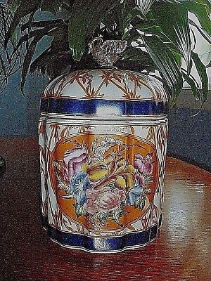 Chinese Porcelain Vase with Lid and Swan Brass Handle Numbered 206/207 Makers St