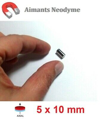 Lot aimant cylindre 5X10mm Très Puissant Neodyme N35 : Fixation, Magnet, Fimo...