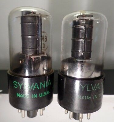 Matched Pair Sylvania 6K6GT Vacuum Tubes Hickok Tested 99% 97%