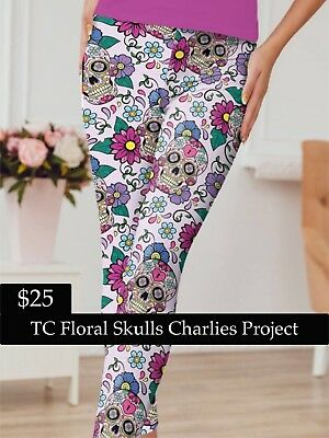 0b56428430feee Brand New with Tags TC Floral Skulls Leggings Charlies Project Fits Sizes:  16-22