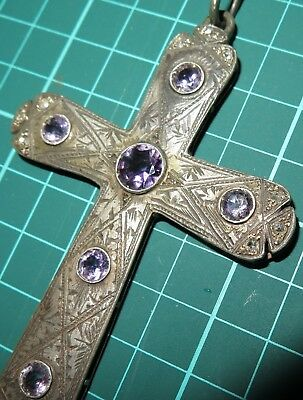 Gorgeous Pectoral Bishop Cross Crusifix S. Xix Silver, Gold, Diamonds, Amethyst