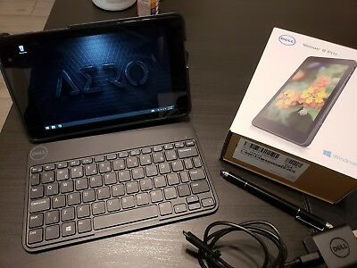 Dell Venue 8 Pro 3845, 8in - Black (Great Condition + Bundled Case/Keyboard)