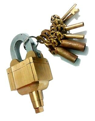 ANTIQUE Style MASTER Padlock - Brass Lock with Keys but No Hole & HARD TO OPEN