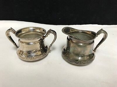 Forbes Silver Co Quadruple Silverplate Sugar & Creamer 629