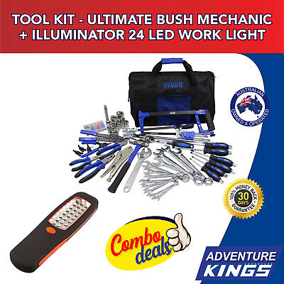 Adventure Kings Tool Kit - Ultimate Bush Mechanic + Illuminator 24 LED Work Ligh