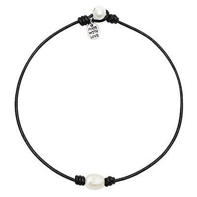 Single Cultured Freshwater Pearl Choker Necklace -Genuine Black or Brown Leather
