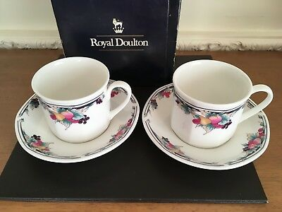 Two Royal Doulton Tea Cups And Saucers - Autumn's Glory - Boxed