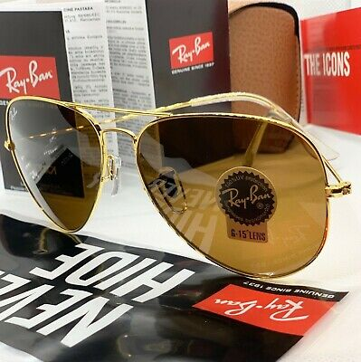 144dae3698b67 BROWN GOLD Ray Ban Sunglass Aviator Classic LARGE 62mm NEW Original Pilot  RB3026