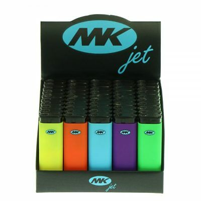 50 Full Size MK JET TORCH Assorted Color Lighters Windproof Refillable Lighter