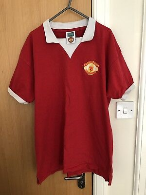 check out fc29e 7771f MANCHESTER UNITED RETRO Vintage Red football Top Shirt Large George Best