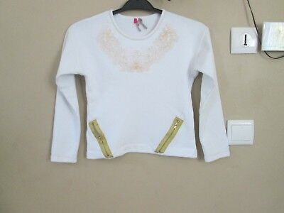 ca8ab4b2ad256 T SHIRT BLANC FILLE MANCHES LONGUES TAILLE 10 ans TBE - EUR 3