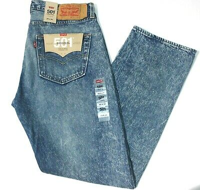 Men's Levi's 501 Stone Age Faded Blue Straight Leg Button Fly Jeans - 005012715