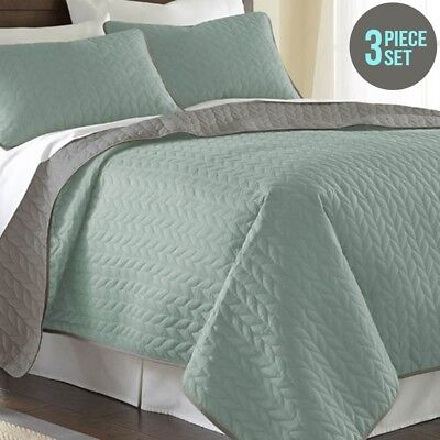 New Amrapur Overseas 3 Piece Reversible Coverlet Set - Jade - Queen By OZSALE