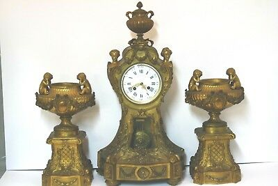 Antique 19th 3 Pc French Figural Gilded Dore Bronze Louis XIV Putti Mantel Clock