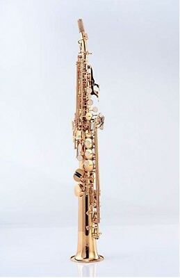 STRAIGHT SOPRANO SAXOPHONE, DARK GOLD LACQUER, Bb KEY, with canvas case