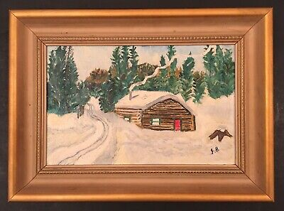 Vintage 20th Century Log Cabin in Snow Oil Painting on Board signed J. B.