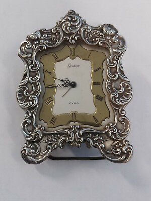 Gorham Sterling Repousse Silver Table Clock, Cyma Swiss Movement As Is