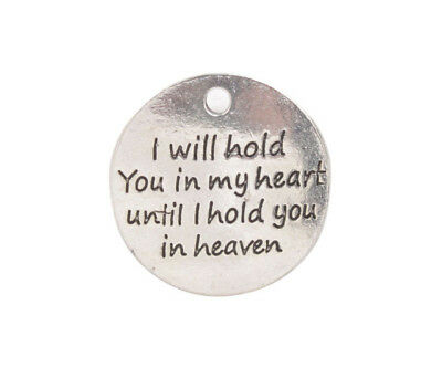 I Will Hold You in My Heart Words Round Beads DIY Pendant Charm USA FAST SHIP