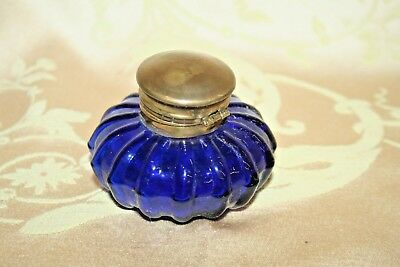 "Antique Small 3"" Round Cobalt Blue Ribbed Glass Inkwell w/ Brass Flip-Lid"