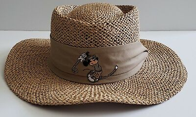 c9a419833e8c1 DISNEY MICKEY MOUSE Panama Hat One Size Fits All Golf Woven Straw ...