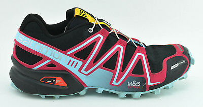 quality design ff545 74244 Womens Salomon Speedcross 3 Lt Trail Running Shoes Size 8.5 Black Pink Blue  Red