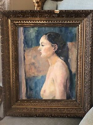 Wells M Sawyer Nude Original Oil On Canvas Painting Daughter Helen Sawyer LISTED
