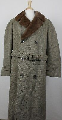 Vintage 50's-60's Harris Tweed 100% Wool Fur Collar 3 Button Overcoat Mens 42