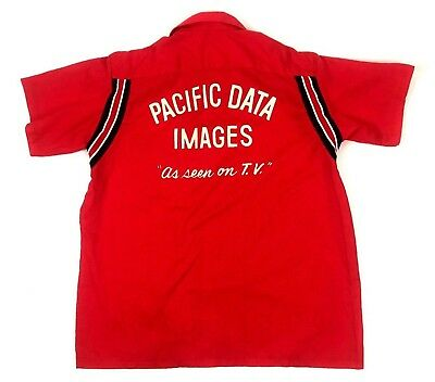 Vintage Mens Bowling Shirt Size L Red Rockabilly Retro Pacific Data TV Bruce