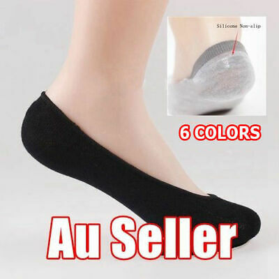 5 Pairs No-Slip Women Invisible Low Cut No Show Footlet Socks Cotton Rich AU New