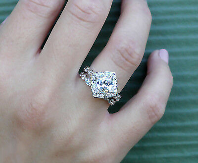 1.70 Ct Cushion Cut Diamond Floral Engagement Wedding Ring 10K Solid White Gold