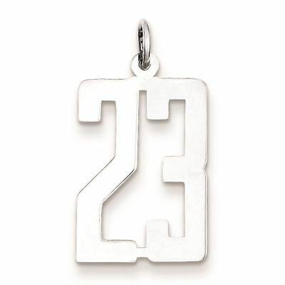 Sterling Silver Small Elongated Pol Number 23 Charm Pendant MSRP $57