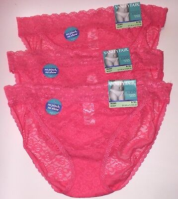 d00f67208bff NWT 3 Vanity Fair Flattering lace Bikini Panties 18280 All Over Lace Pink  8/XL