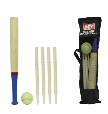 M.Y Deluxe 6 Piece Wooden Rounders Set With Carry Bag Kids Gift Summer Outdoor