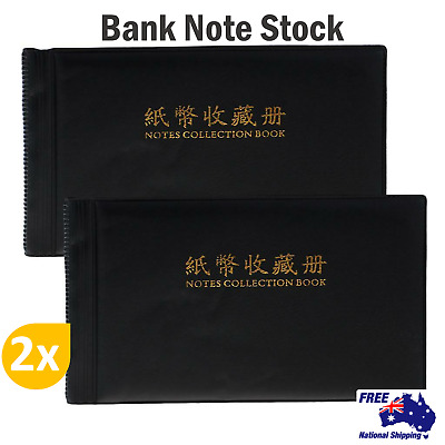 2x BankNote Stock Collection Currency Holder Pocket Coin Album Storage Money AU