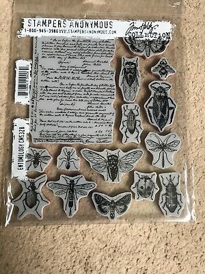 "Tim Holtz Cling Stamps 7""x8.5""-entomology"
