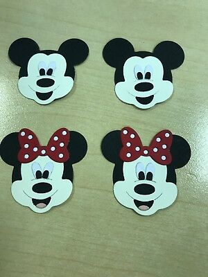 Disney Mickey & Minnie Mouse Head Card Toppers x 4 (Die Cut)