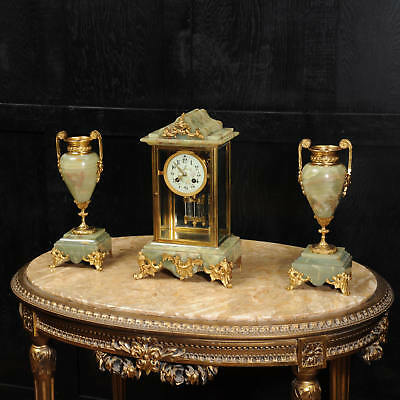 Antique French Four Glass Crystal Regulator Clock Set in Onyx and Ormolu C1890 /