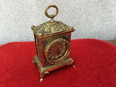 Vintage Brass Roman Numbers Clock in working order