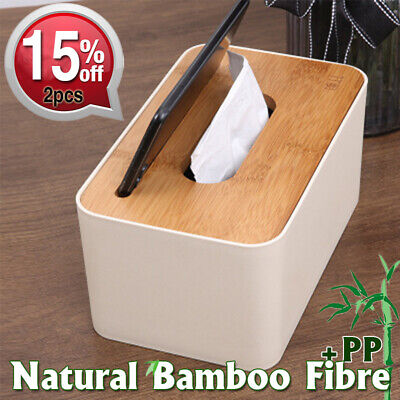 BAMBOO Cover Tissue Box Napkin Holder Case Wooden Storage PHONE Groove Home/Car