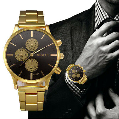 MIGEER Fashion Hommes Cristal Acier inoxydable Analog Quartz Montre Watch Gold