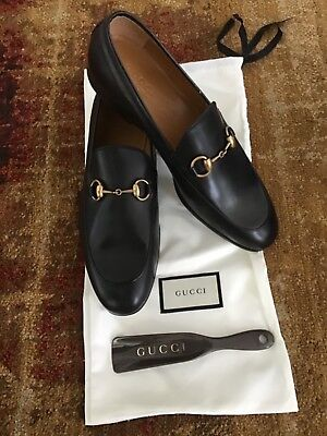 f8970df2570 GUCCI Jordaan Leather Men s Horsebit Loafers Black Size 8 (Gucci) 7.5US