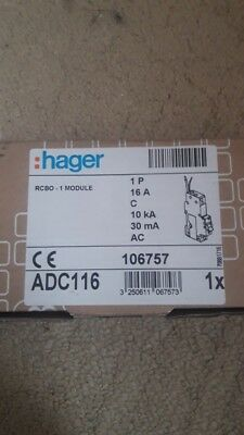 HAGER RCBO 16 AMP TYPE C 16A 30mA 10 KA ADC116