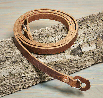 44 inch Hand made leather camera strap. Chestnut with copper rivets. 15mm rings