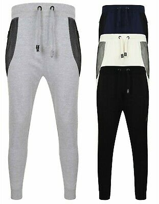 Mens Skinny Jogging Bottoms Joggers Slim Fit Running Gym Pants Cotton Blend New
