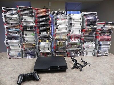 Sony PlayStation 3 Slim Charcoal Black Console With games  Fast Shipping !  PS3