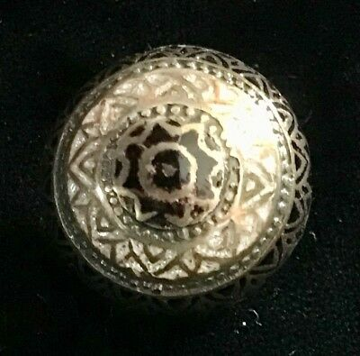 Gorgeous Antique Domed Champleve Enamel Button In Silver