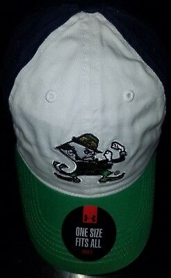 8c3e9f2253a  1253 Adjustable Notre Dame Fighting Irish Under Armour Hat-White Navy Green