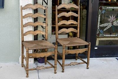 Pair Antique Ladderback Ladder slat back Chair Rush Seat Early American Colonial