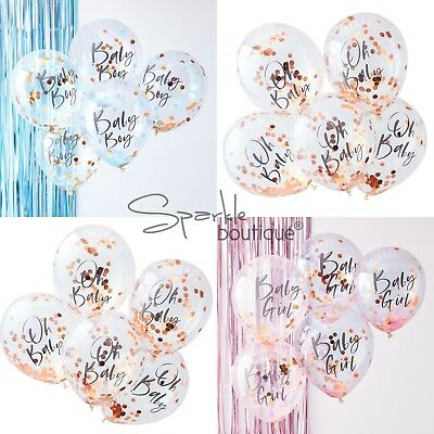BABY SHOWER CONFETTI BALLOONS x5 - Pink/Blue/Rose Gold Party Decorations-Twinkle