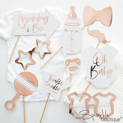 BABY SHOWER PHOTO BOOTH PROPS - Metallic ROSE GOLD Unisex Party Decorations